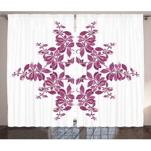Ariel Graphic Print & Text Semi-Sheer Rod Pocket Curtain Panels (Set of 2) by Ebern Designs