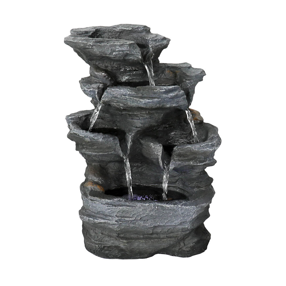 Topfountain Chillscreamni Resin Crafted Stacked Rock Water Fountain 11 4 5 Rockery Indoor Water Feature With Led Lights For Home Office 5 Tier Led Lit Cascade Fountain With Soothing Sound Wayfair