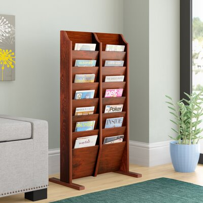 14 Pocket Free Standing Magazine Rack Rebrilliant Wood Color: Mahogany