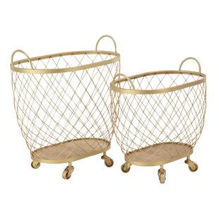 Affordable Modern Diamond Weave Oval Basket Set with Wheels (Set of 2) By Gracie Oaks