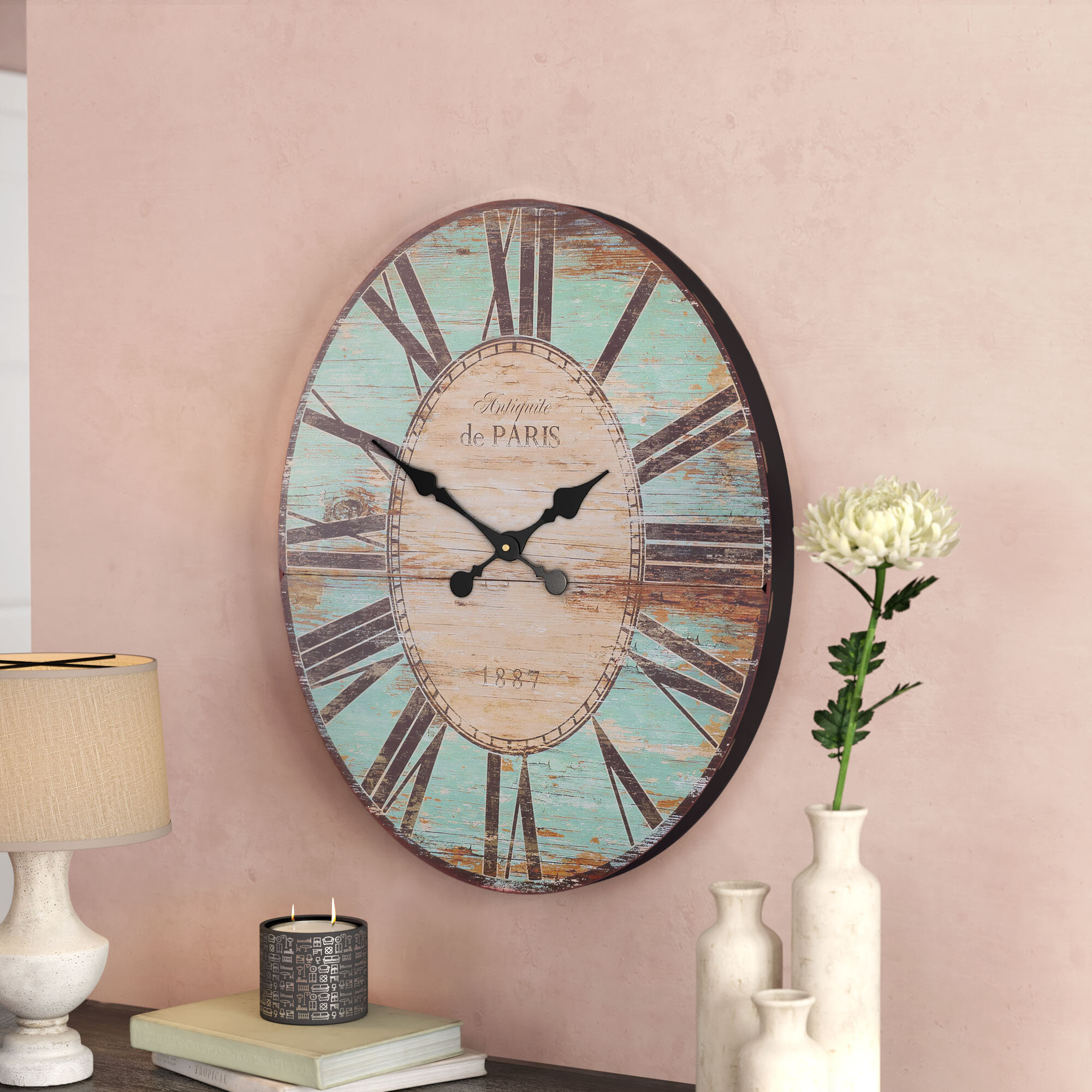 Lark manor oversized 29 oval wall clock reviews wayfair