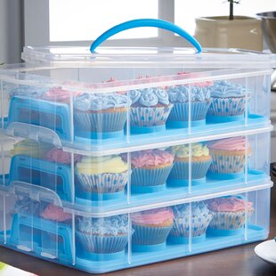 3 Tier Cupcake Holder And Carrier Container by VonShef Cool