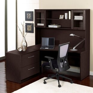 Latitude Run Buragate Desk with Hutch and Filing Cabinet Set