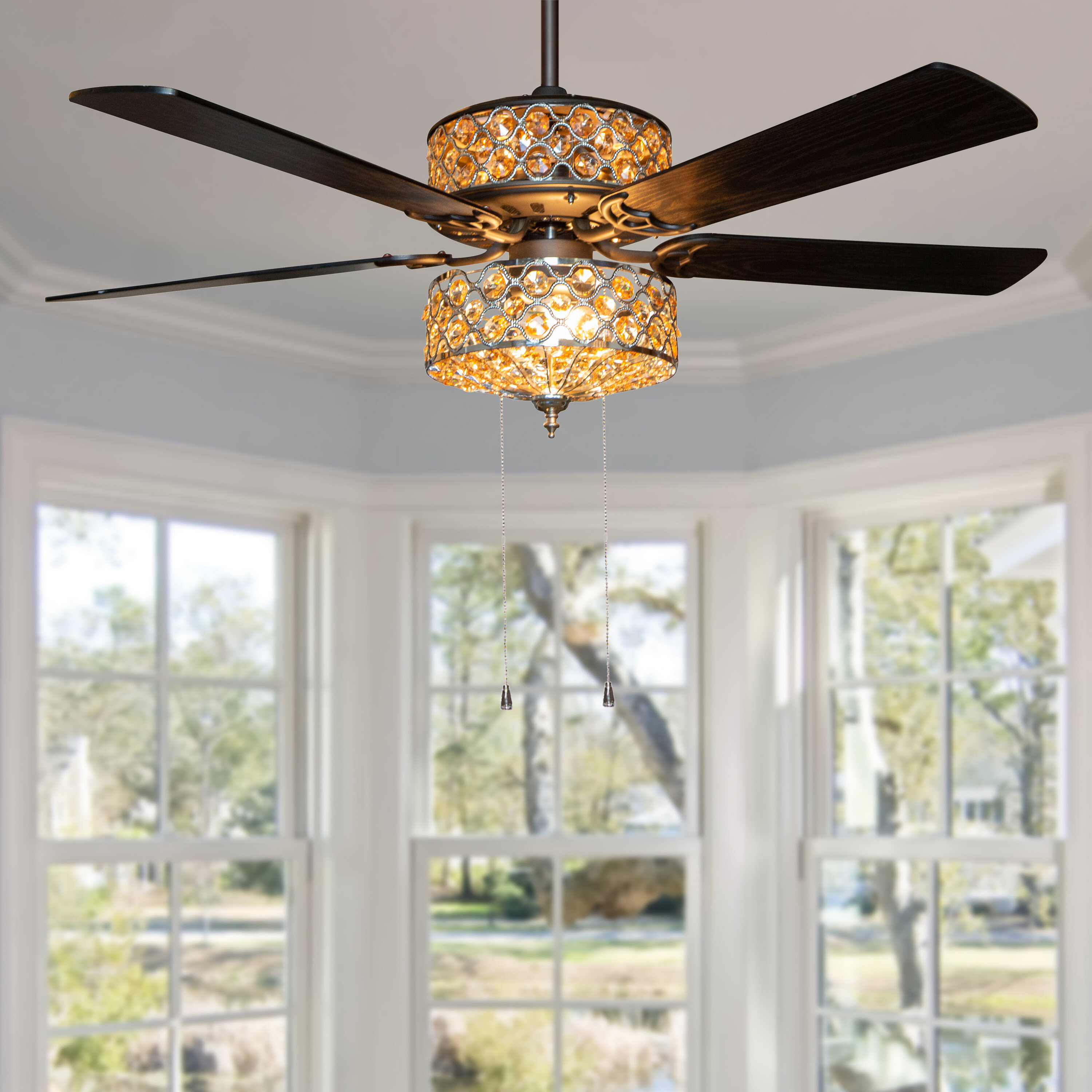 House Of Hampton 52 Irven 5 Blade Crystal Ceiling Fan With Pull Chain And Light Kit Included Reviews Wayfair