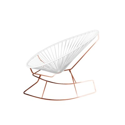 Brayden Studio Marvine Rocking Chair Color: White/Copper