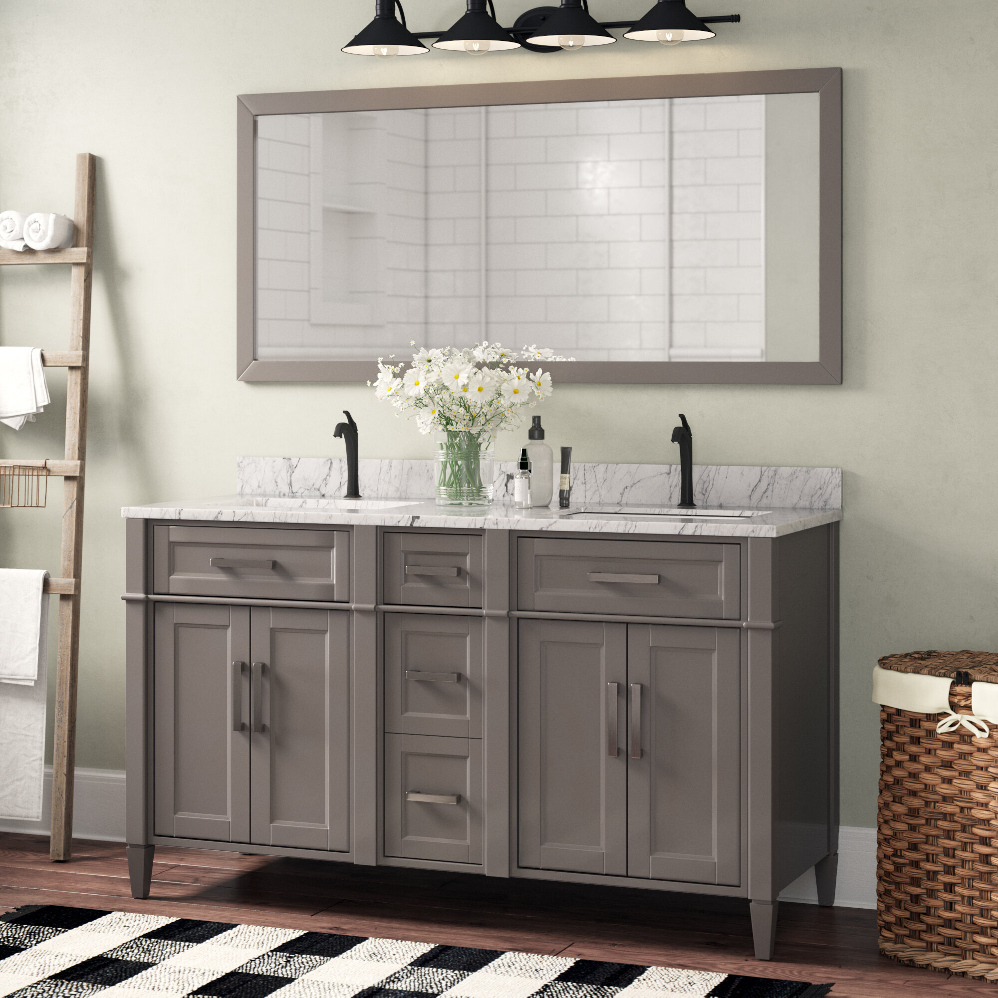 Gracie Oaks Monadnock 59 8 Double Bathroom Vanity Set With Mirror Reviews Wayfair