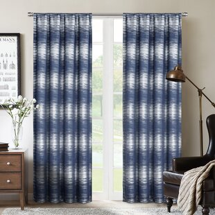 Niagara Striped Max Blackout Thermal Rod Pocket Single Curtain Panel by Wrought Studio