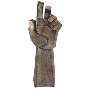 Freedom Rising Modern Cubist Outstretched Hand Statue Image