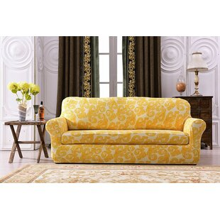 Printed Spandex Box Cushion Sofa Slipcover