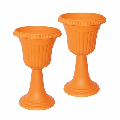 Plastic Urn Planter ALEKO Color: Orange
