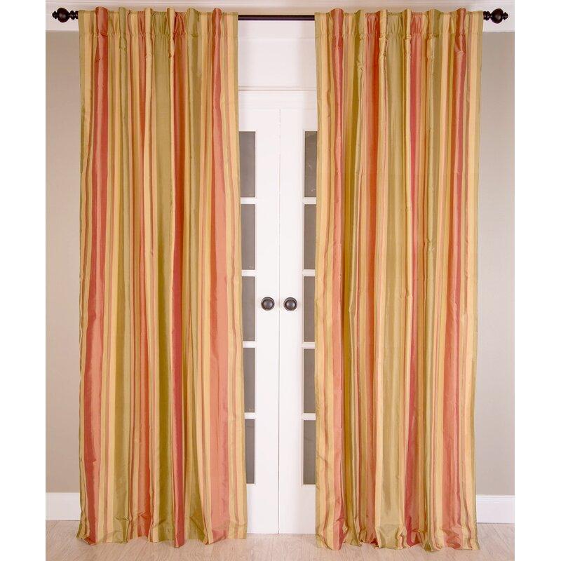 India S Heritage Pure Silk Striped Room Darkening Rod Pocket Single Curtain Panel Wayfair