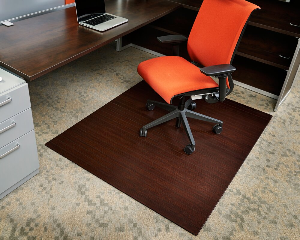 Bamboo Rectangular Office Chair Mat