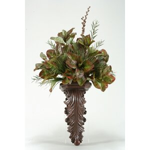 Magnolia Foliage with Willow and Onion Grass Wall Plant in Sconce