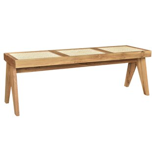 Reese Caned Teak Bench by Bayou Breeze