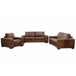 Trey Leather 3 Piece Living Room Set by Loon Peak