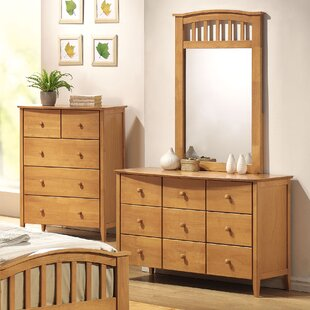 Deals Scheffel 9 Drawer Double Dresser with Mirror ByHarriet Bee