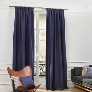 Coconut Solid Blackout Single Pencil Pleat Single Curtain Panel by Madura