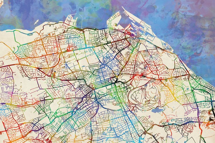 East Urban Home Urban Rainbow Street Map Series: Edinburgh, Scotland ...