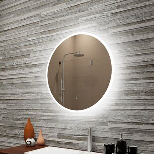 Buying Bondurant Reflection Dimmable LED Lighted Round Frosted Edge Bathroom/Vanity Mirror By Orren Ellis