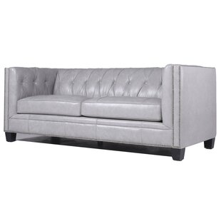 Katy Leather Chesterfield Sofa by Darby Home Co Savings