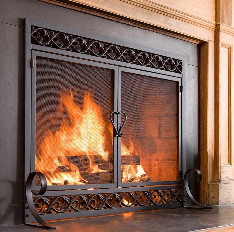 5fb61f41ec9 Plow   Hearth Scrollwork Single Panel Iron Fireplace Screen   Reviews