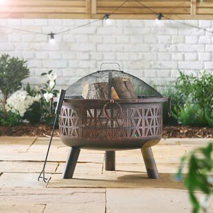 Hamdan Geo Steel Wood Burning And Charcoal Fire Pit By Sol 72 Outdoor