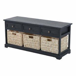 Highland Dunes Coen 3 Drawer 3 Basket Wood Storage Bench