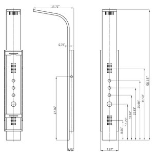 pressure balance tower shower panel system diverter/dual function with  rainfall shower head, body