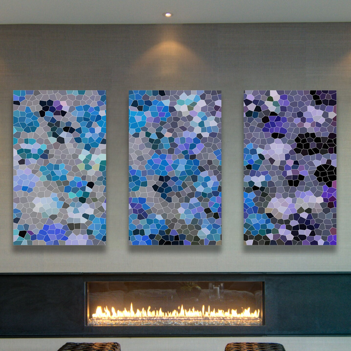 'Blue And Gray Triptych' Painting Print on Wrapped Canvas