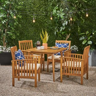 Soares Acacia Square 5 Piece Dining Set with Cushions