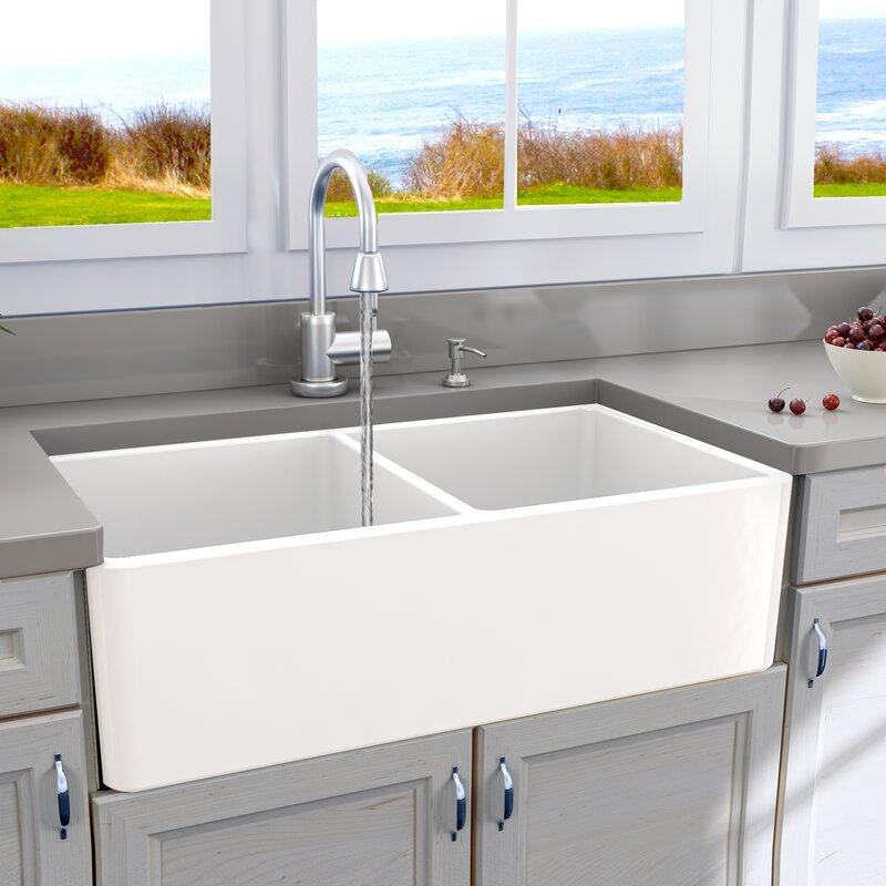 Cape 33 L X 18 W Double Basin Farmhouse Kitchen Sink With Basket Strainer