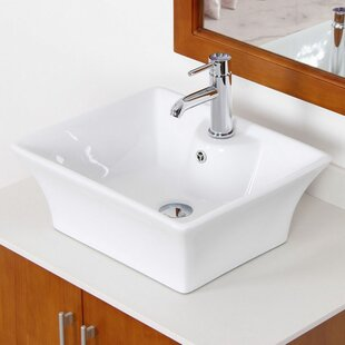 Reviews Ceramic Rectangular Vessel Bathroom Sink with Overflow ByAmerican Imaginations