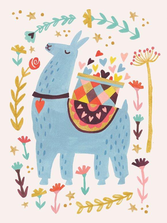 Oopsy Daisy Blue Llama Canvas Art Wayfair