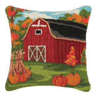 Munford Fall Barn Wool Throw Pillow by August Grove Spacial Price