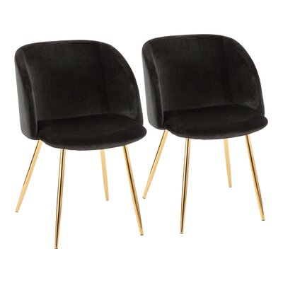 Brayden Studio Chu Upholstered Dining Chair Color: Black/Gold
