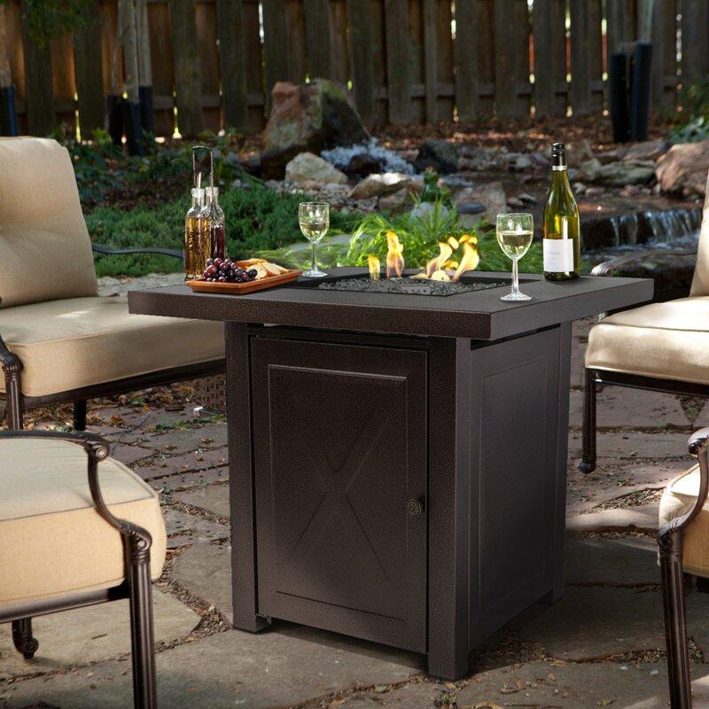 Ebern Designs Saxony Outdoor Garden Patio Steel Propane Gas Fire