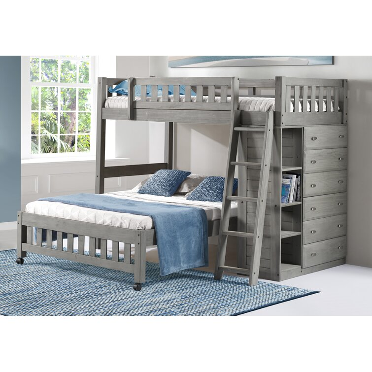 Greyleigh Booker Twin Over Full Solid Wood Bed With Shelves By Greyleigh Reviews Wayfair