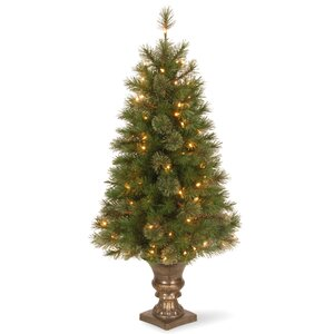 Atlanta Spruce 4' Green Artificial Entrance Christmas Tree with 100 Clear Lights