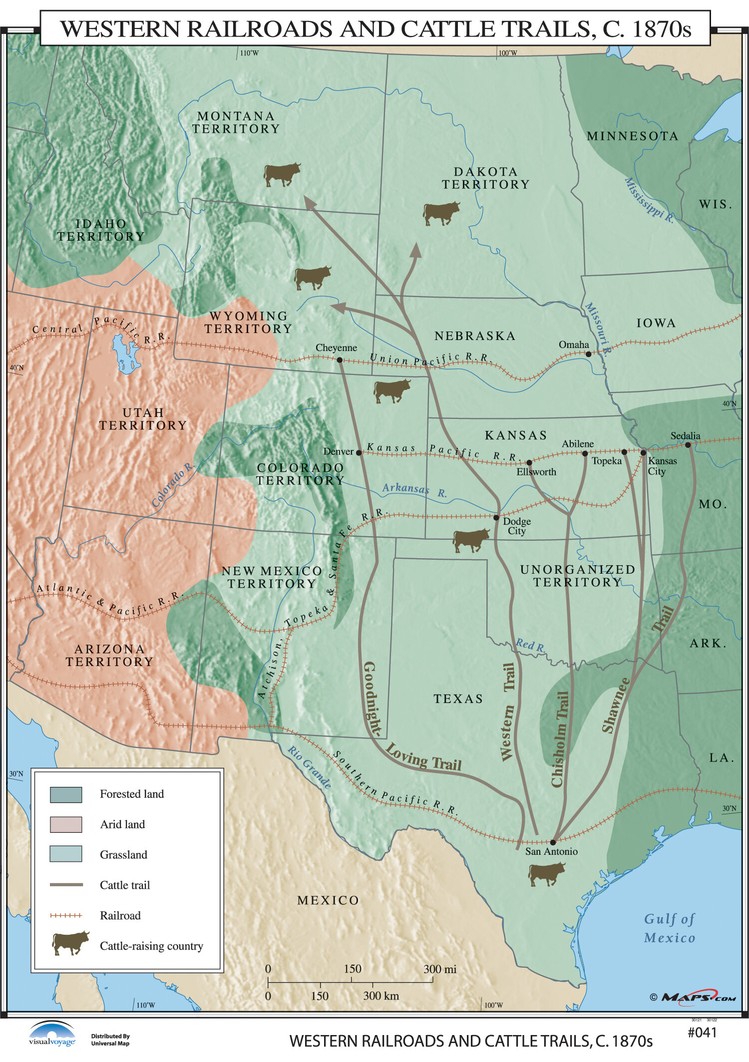 Universal Map US History Wall Maps Western Railroads Cattle - Us trails map