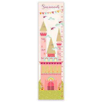 Personalised Height Growth Chart Blue Princess Castle Children Fairytale Gift