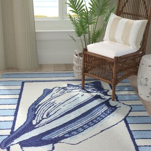 Great choice Isham Conch Hand-Hooked Blue/White Area Rug By Breakwater Bay