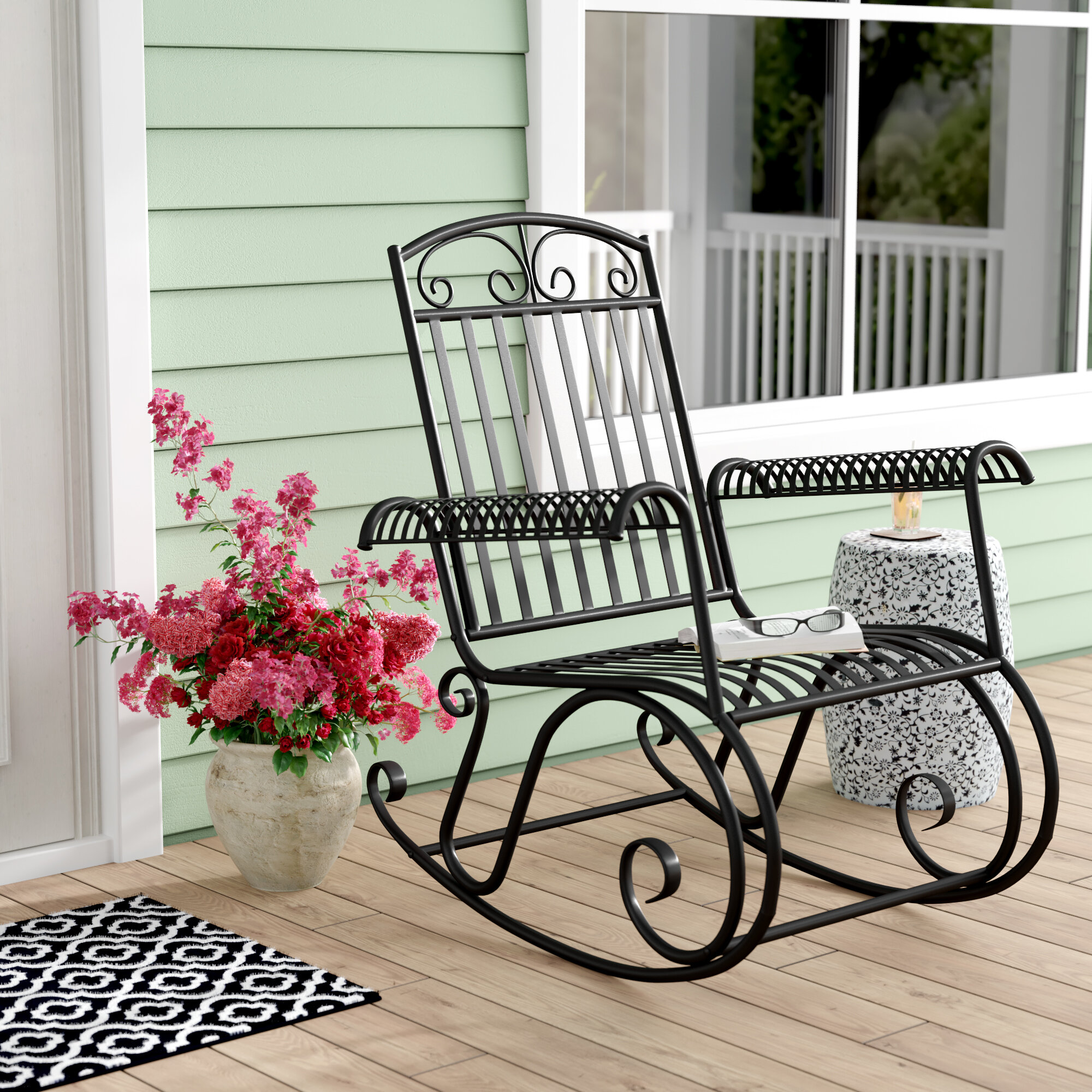 Three Posts Snowberry Iron Outdoor Porch Rocking Chair Reviews Wayfair