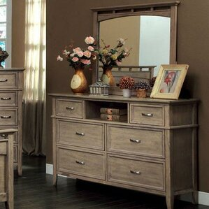 Cartwright 6 Drawer Dresser with Mirror by Rosecliff Heights
