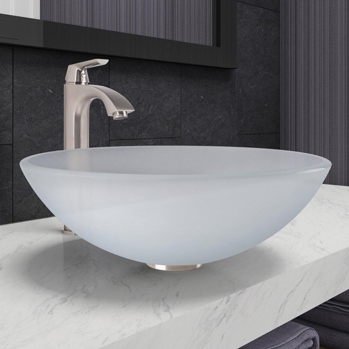 VIGO Tempered Glass Circular Vessel Bathroom Sink with Faucet ...