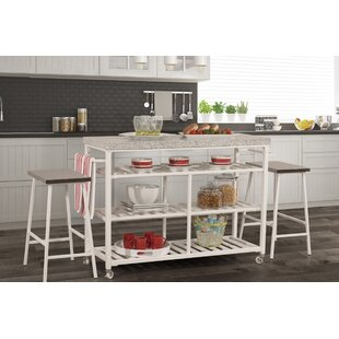 Geary Kitchen Island Set with Granite Top August Grove