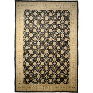 Price comparison One-of-a-Kind Huntingdon Hand-Knotted  14'7 x 20'10 Wool Black/Beige Area Rug By Isabelline
