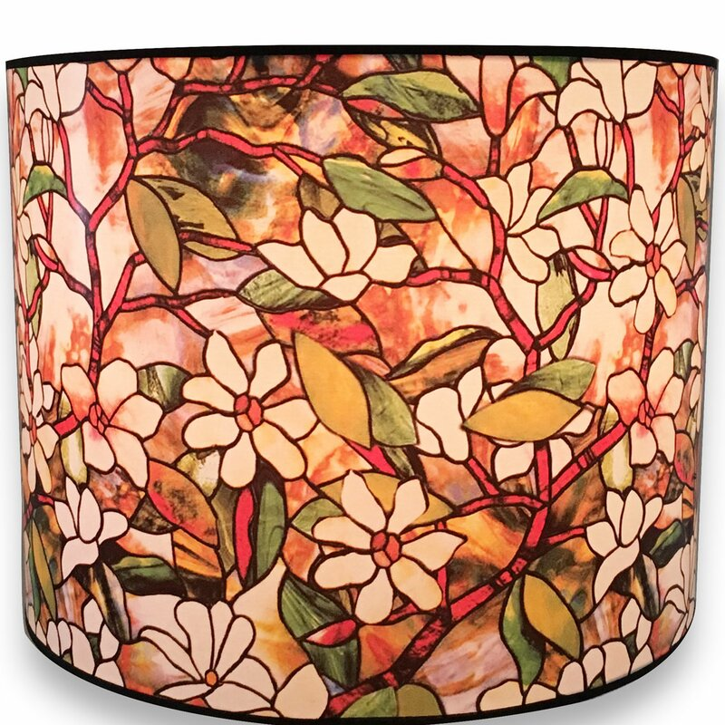 Magnolia stained glass printed designer hard back 10 paper drum lamp shade
