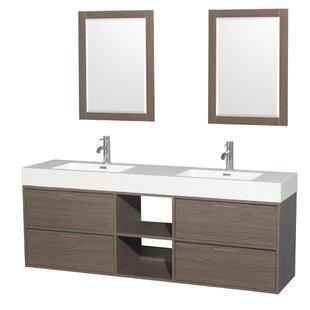 Daniella 72 Double Gray Oak Bathroom Vanity Set with Mirror by Wyndham Collection