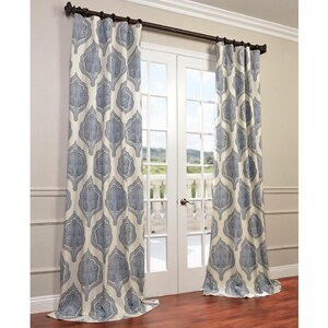 Lunaire Printed Cotton Twill Damask Single Curtain Panel
