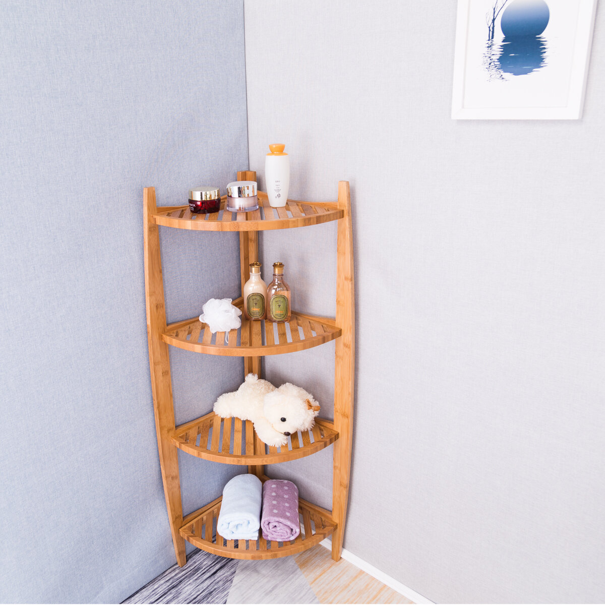 Highland Dunes Stonington Natural Bamboo Corner 43 2 W X 20 H Bathroom Shelf Wayfair
